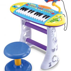 אורגן לילדים עם מיקרופון קריוקי וכסא